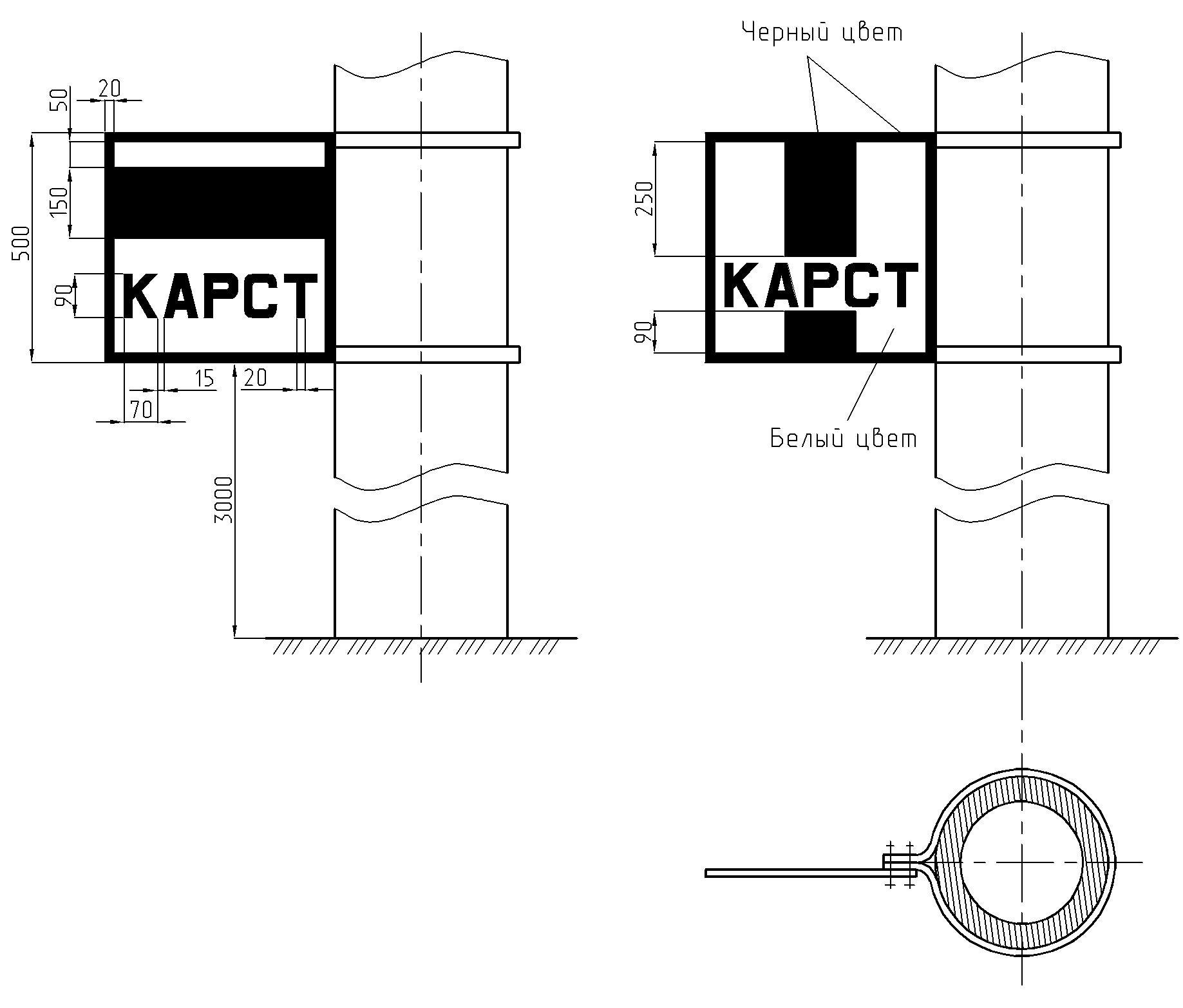 Рисунок 12. Постоянные сигнальные знаки «Начало карстоопасного участка» и «Конец карстоопасного участка»