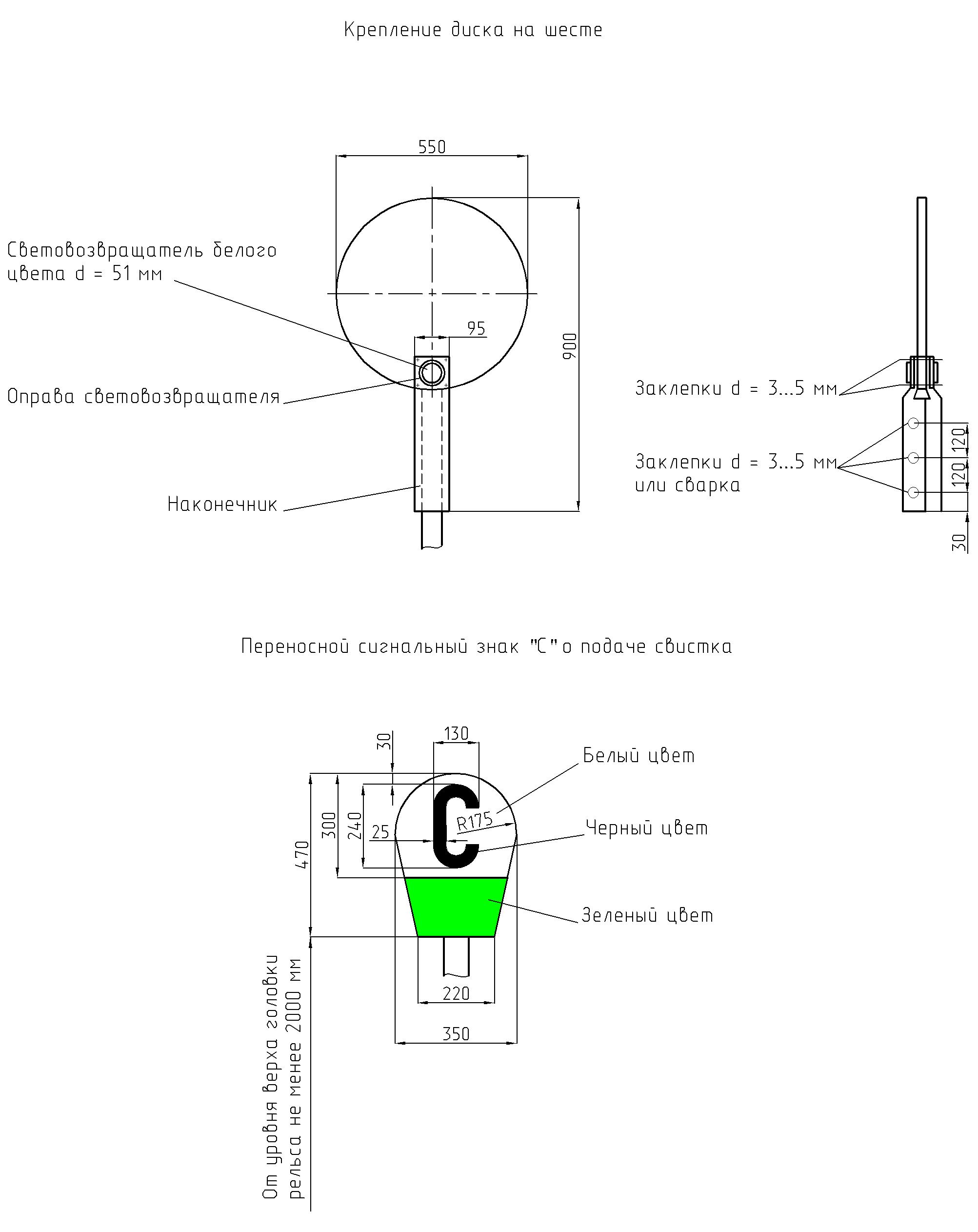 Рисунок 5. Переносной сигнальный знак «С» о подаче свистка