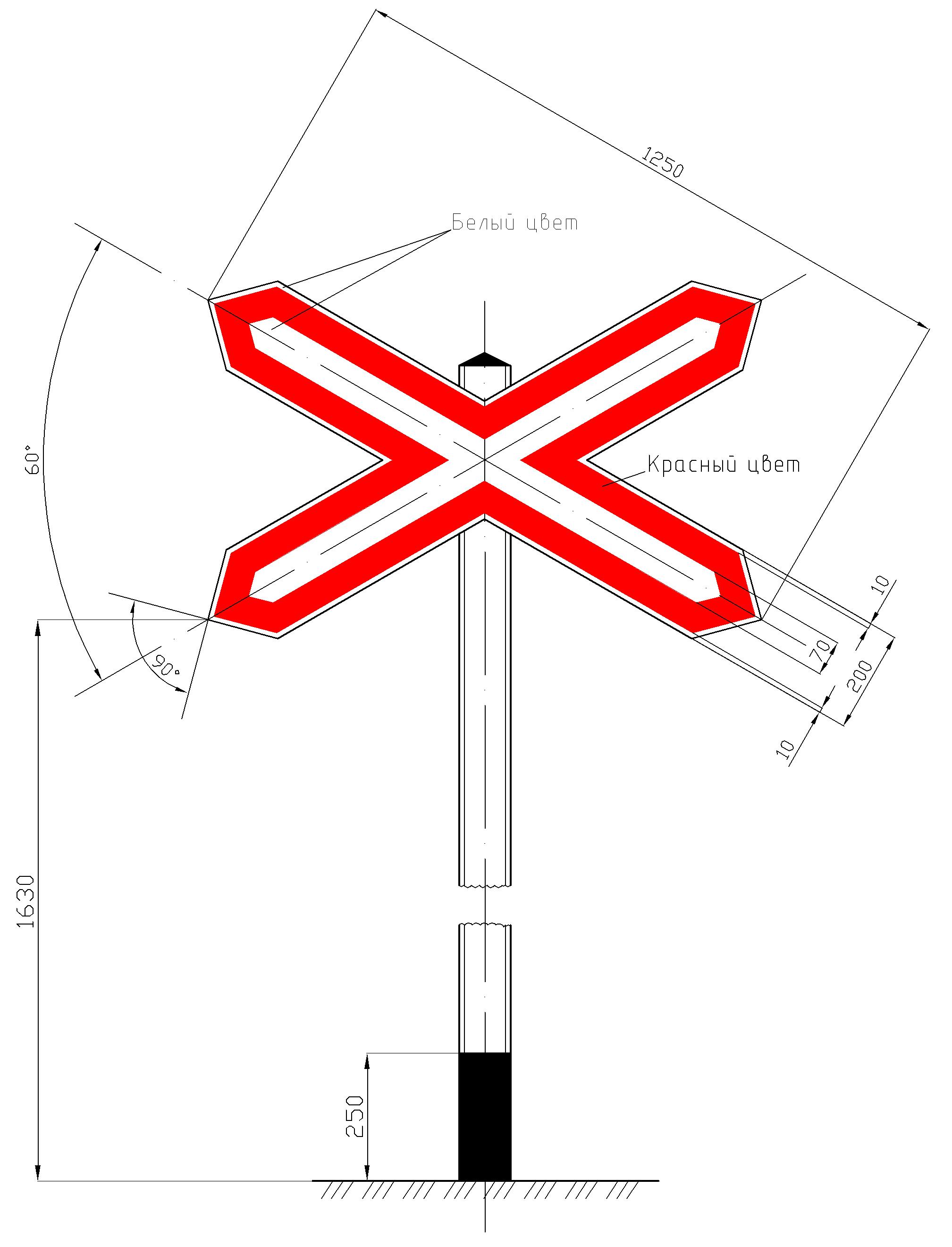 Рисунок 58. Предупреждающий сигнальный знак у переездов «Однопутная железная дорога»