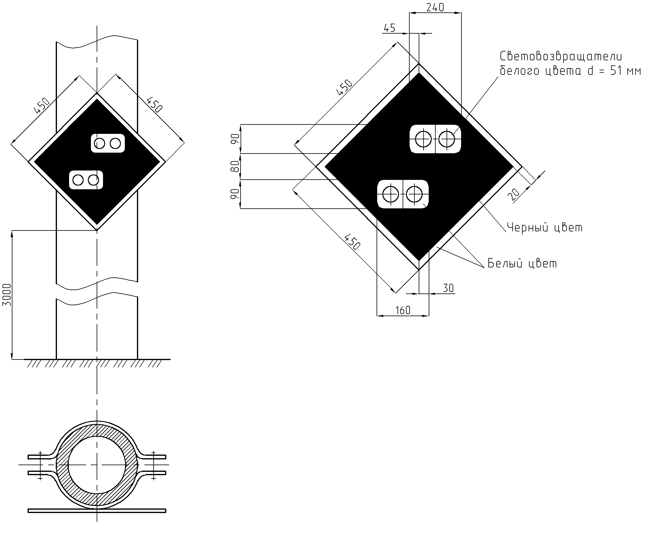 Рисунок 6. Постоянный сигнальный знак «Внимание! Токораздел»