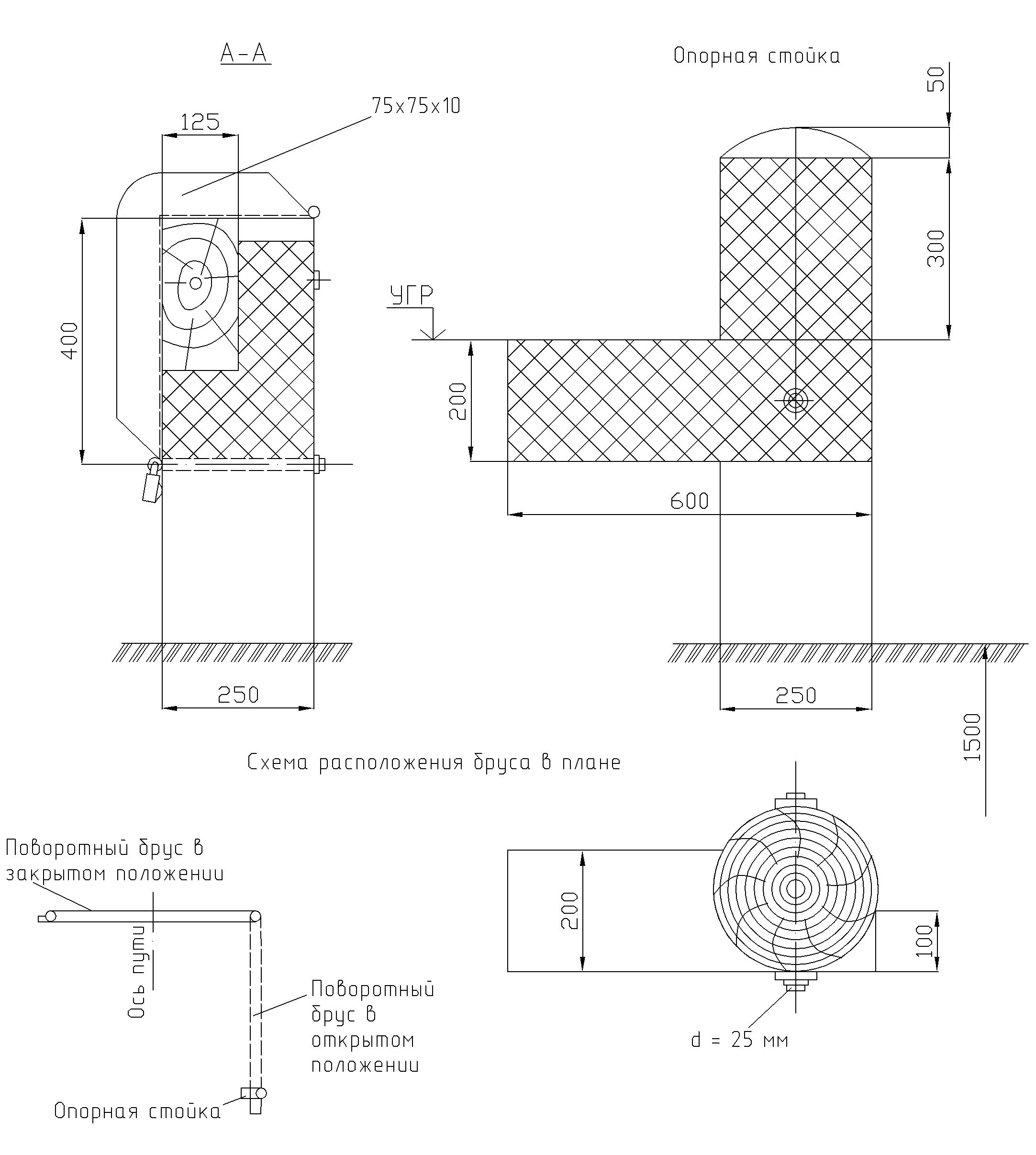 Рисунок 63. Поворотный брус путевого заграждения