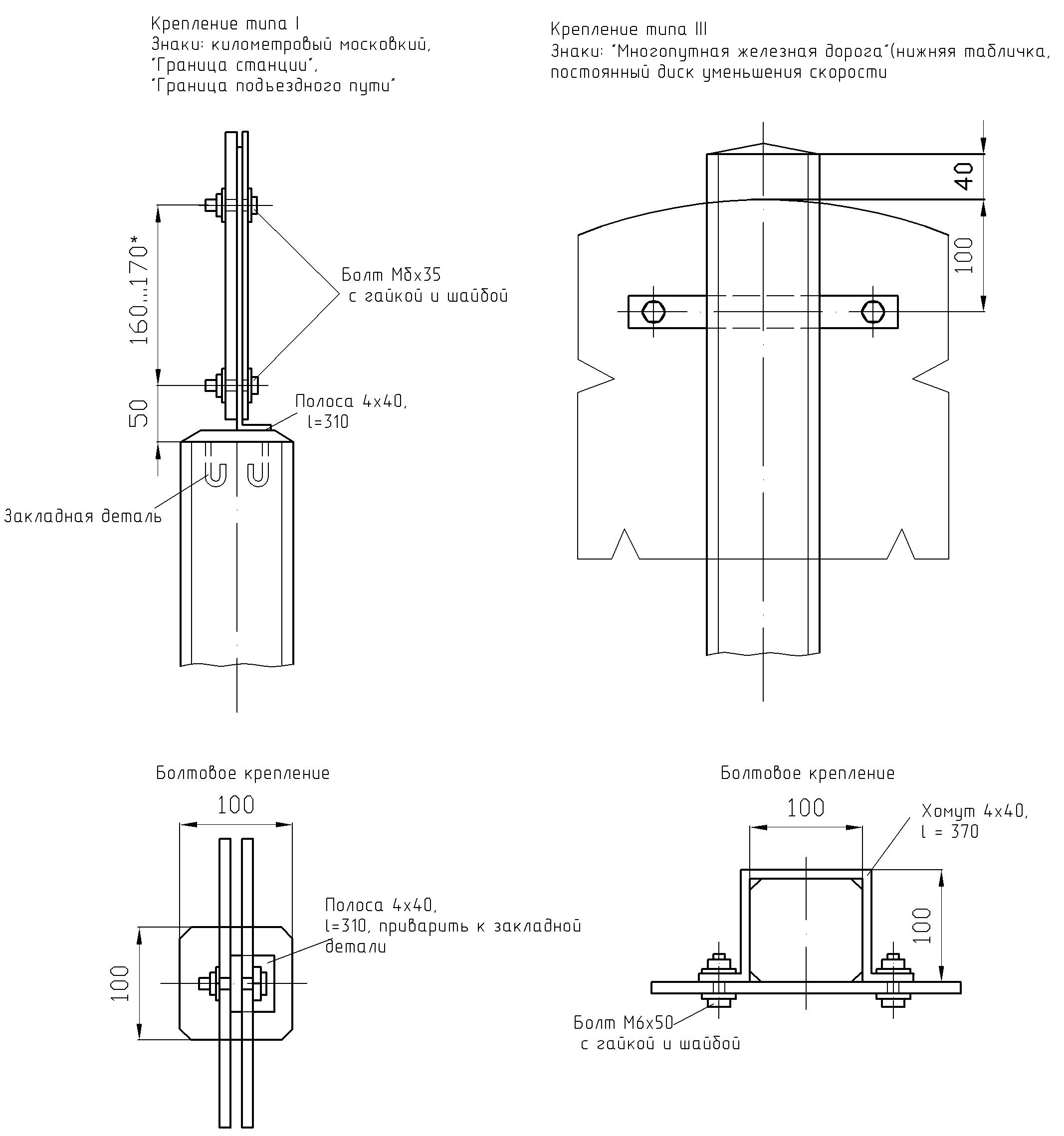Рисунок 67. Детали крепления путевых и сигнальных знаков на столбах