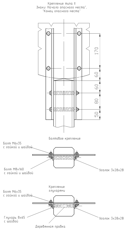 Рисунок 70. Детали крепления путевых и сигнальных знаков на столбах