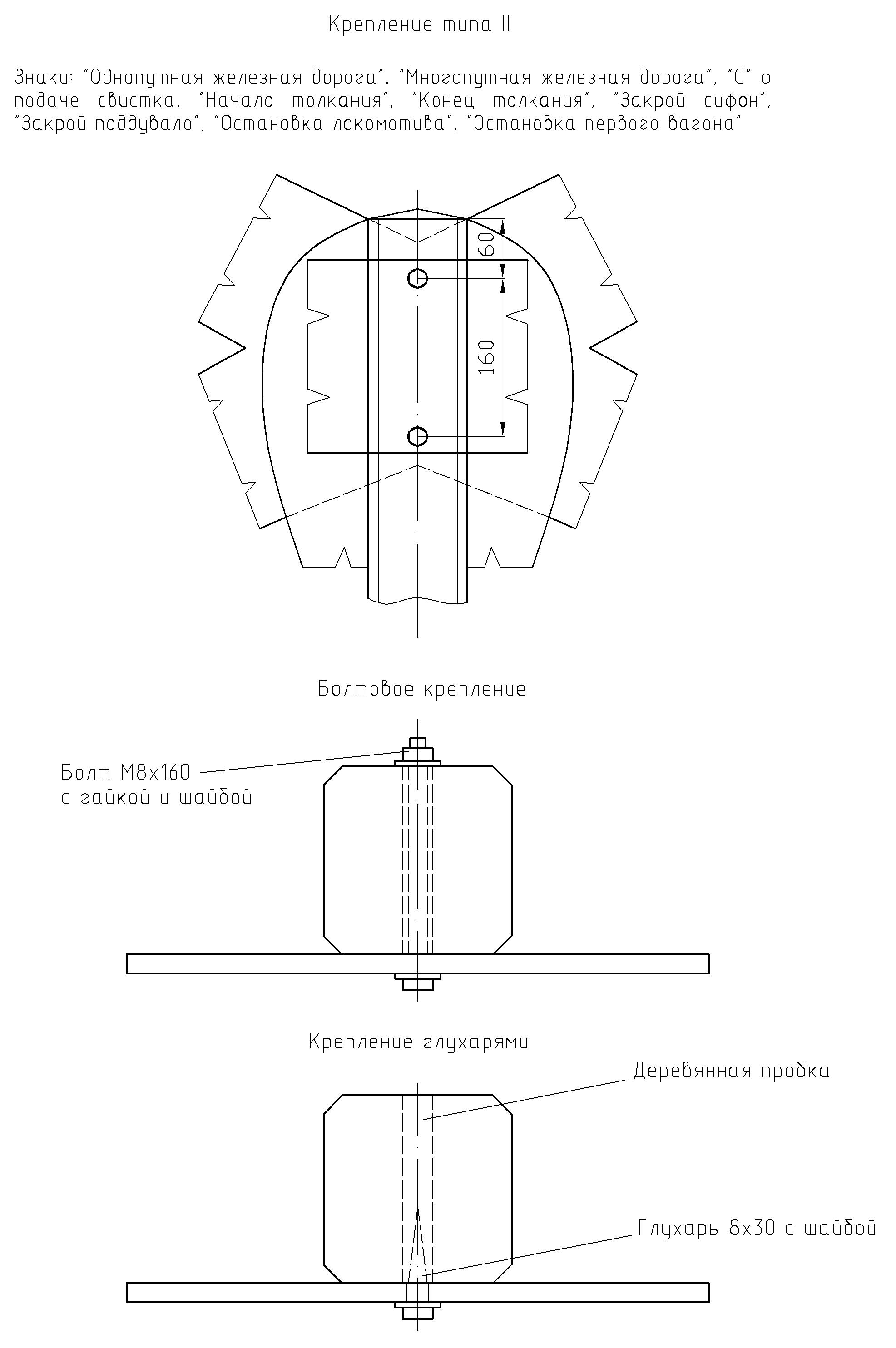 Рисунок 71. Детали крепления путевых и сигнальных знаков на столбах
