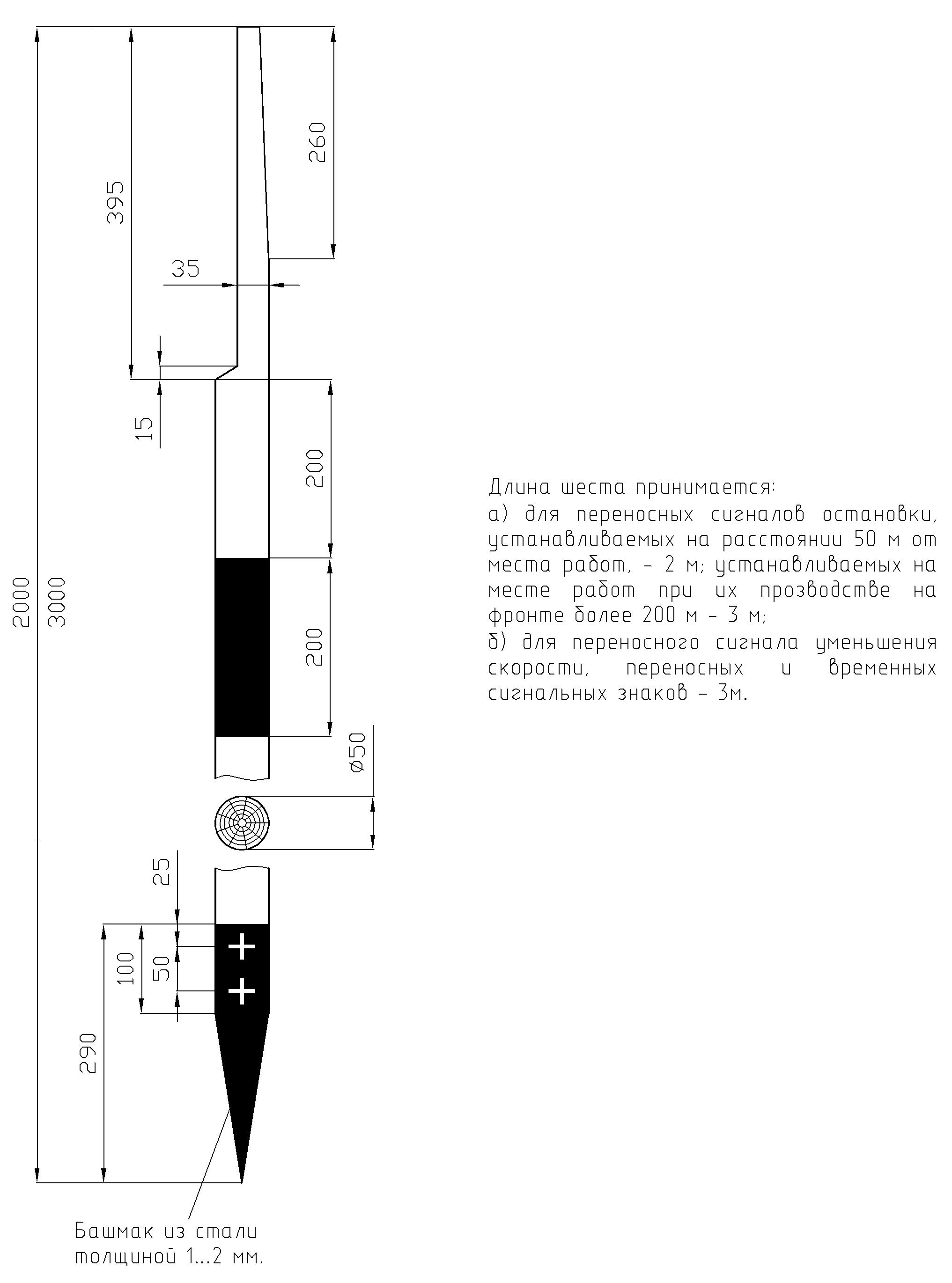 Рисунок 73. Шест деревянный к переносным сигналам, переносным и временным сигнальным знакам