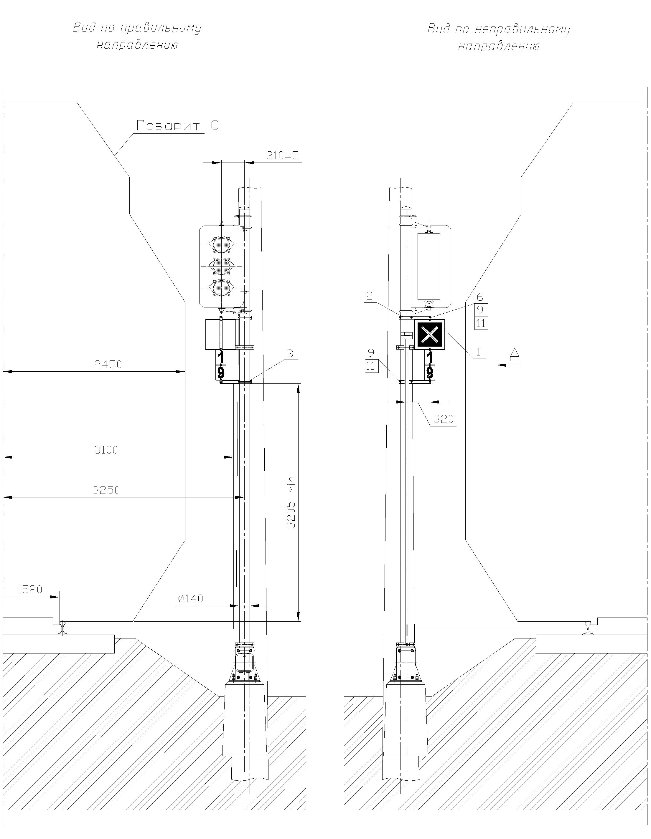 Рисунок 79. Вариант 1 крепления знака Перенос границы блок-участкана мачте светофора