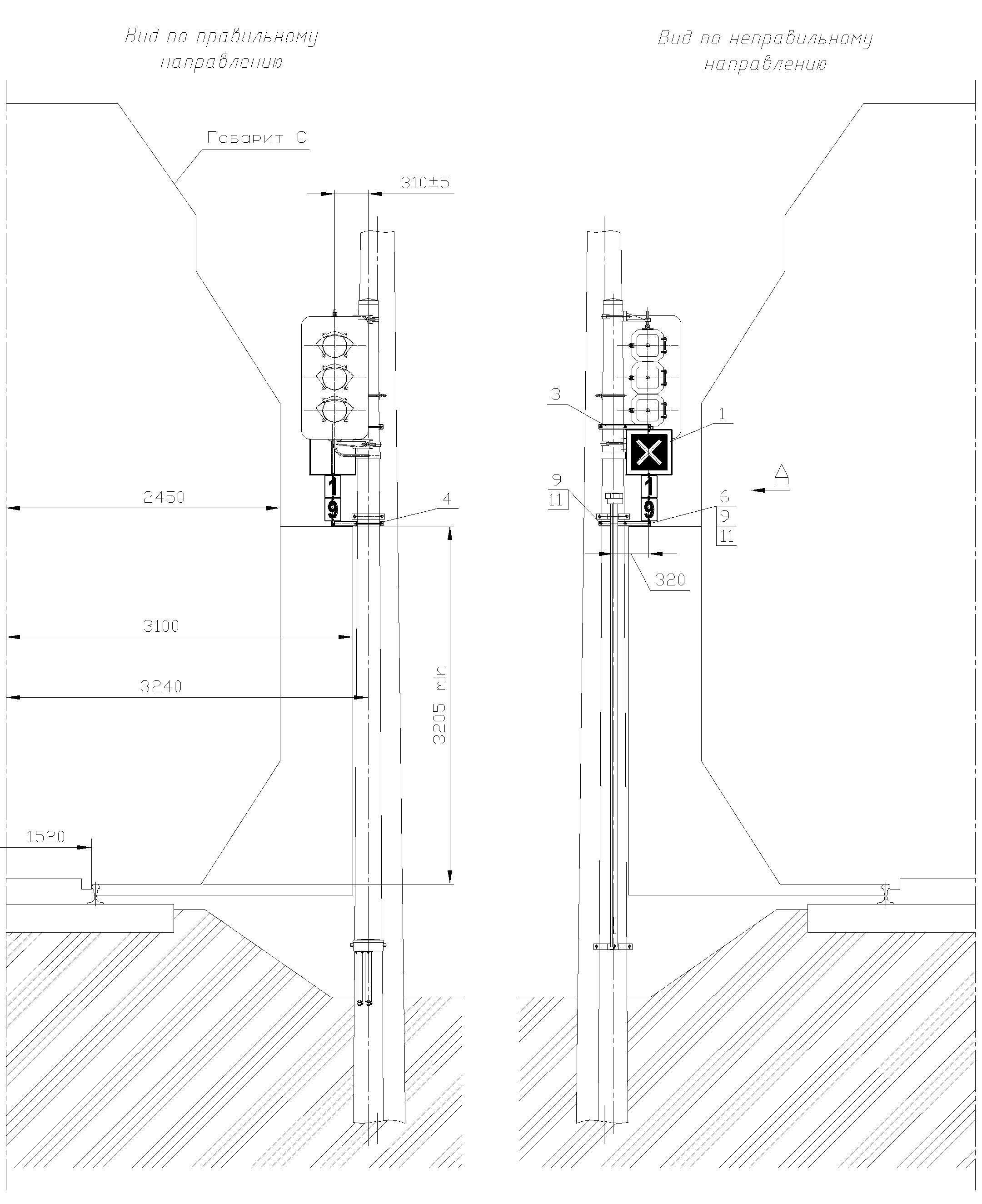 Рисунок 80. Вариант 2 крепления знака Перенос границы блок-участка на мачте светофора