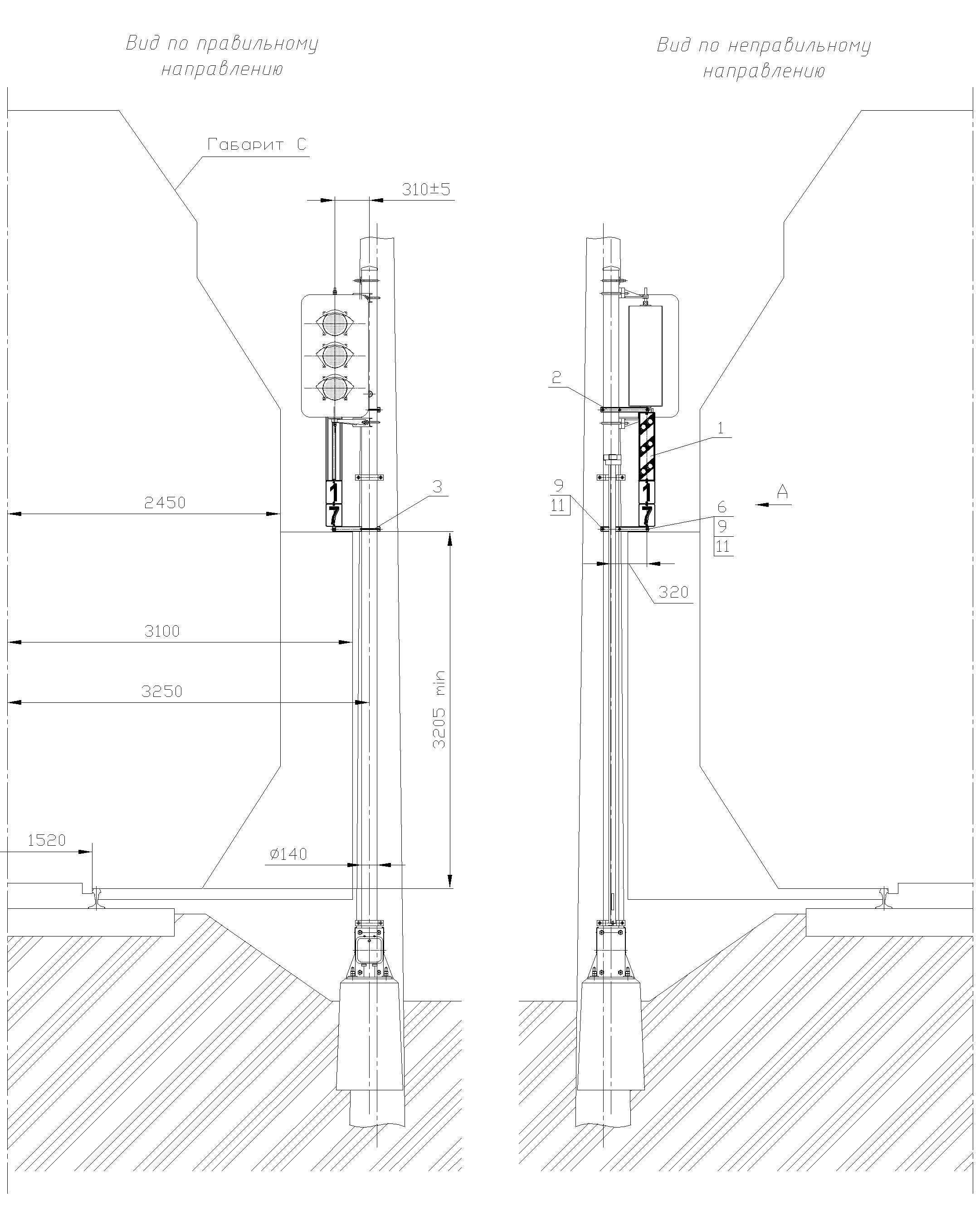 Рисунок 81. Вариант 1 крепления оповестительной таблички на мачте светофора