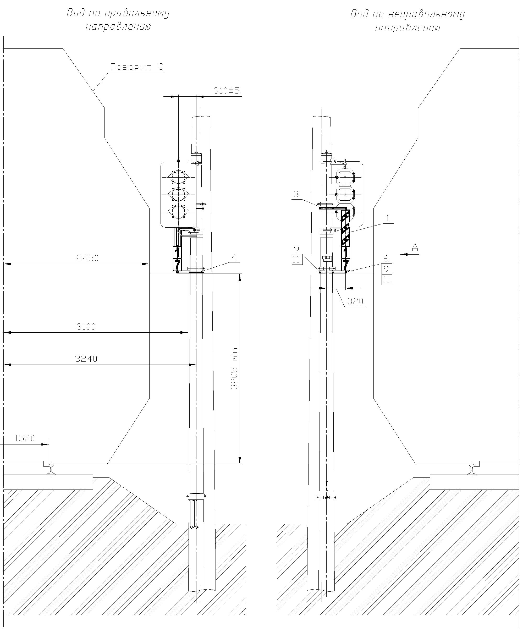 Рисунок 82. Вариант 2 крепления оповестительной табличкина мачте светофора